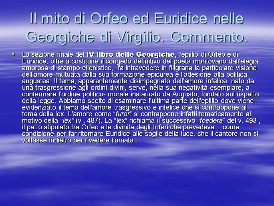 Il mito di Orfeo ed Euridice nelle Georgiche di Virgilio. Commento.