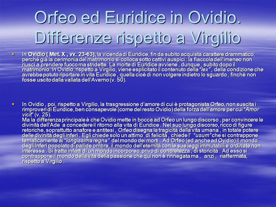 Orfeo ed Euridice in Ovidio. Differenze rispetto a Virgilio