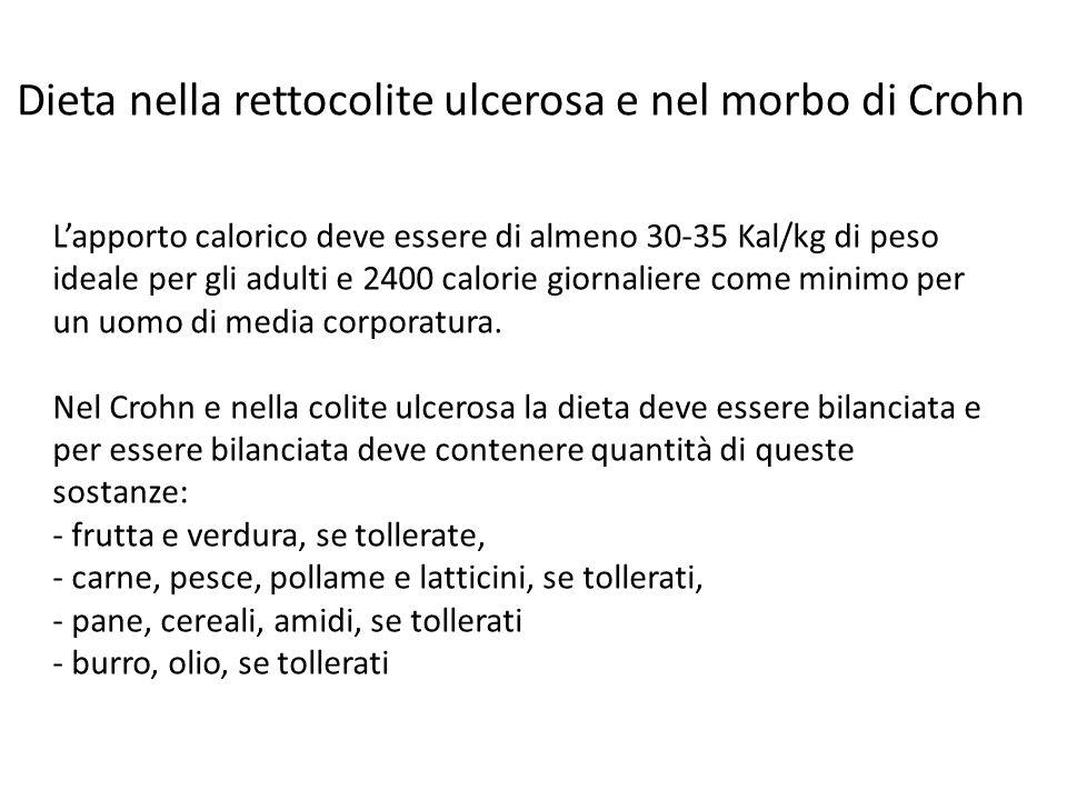 Dieta nella rettocolite ulcerosa e nel morbo di Crohn