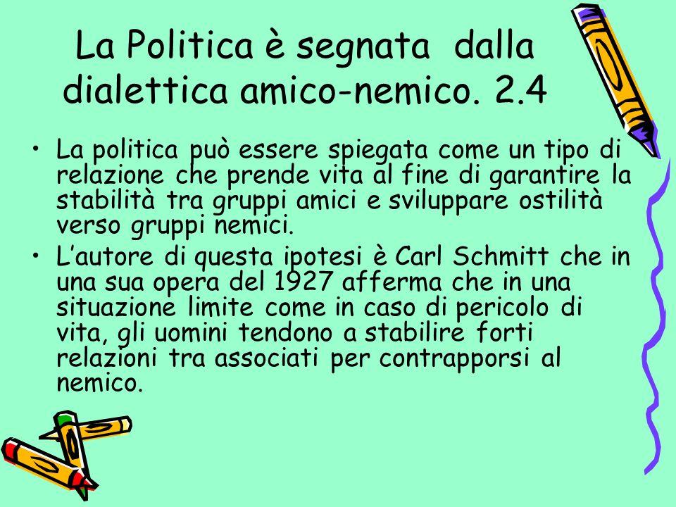 La Politica è segnata dalla dialettica amico-nemico. 2.4