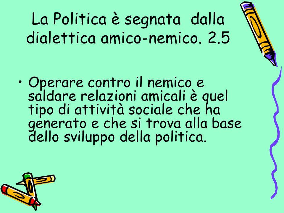 La Politica è segnata dalla dialettica amico-nemico. 2.5
