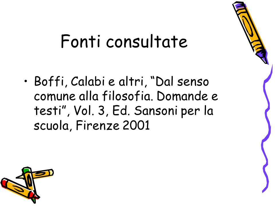 Fonti consultate Boffi, Calabi e altri, Dal senso comune alla filosofia.