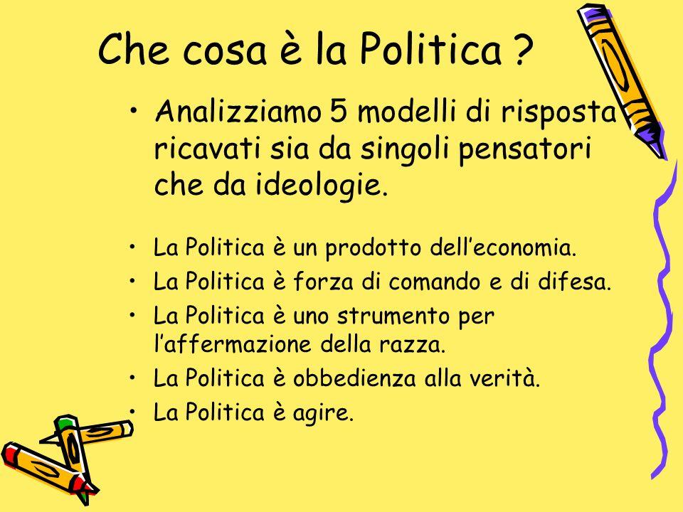 Che cosa è la Politica Analizziamo 5 modelli di risposta ricavati sia da singoli pensatori che da ideologie.