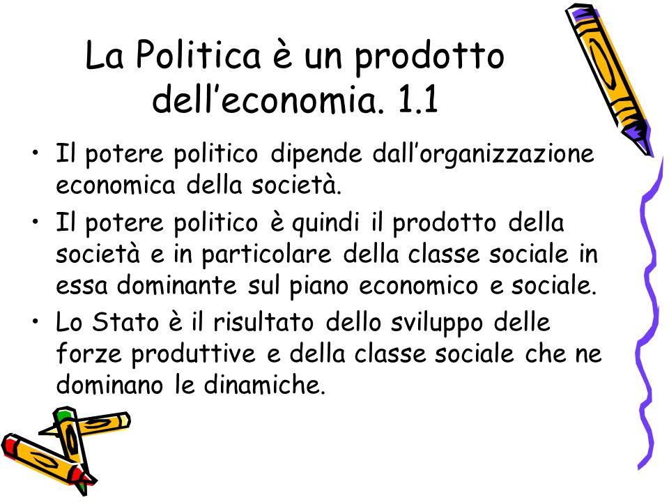 La Politica è un prodotto dell'economia. 1.1