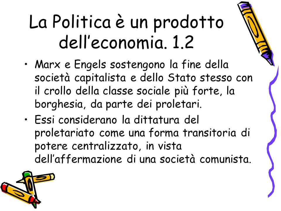La Politica è un prodotto dell'economia. 1.2