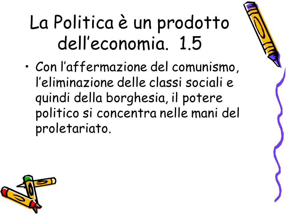 La Politica è un prodotto dell'economia. 1.5