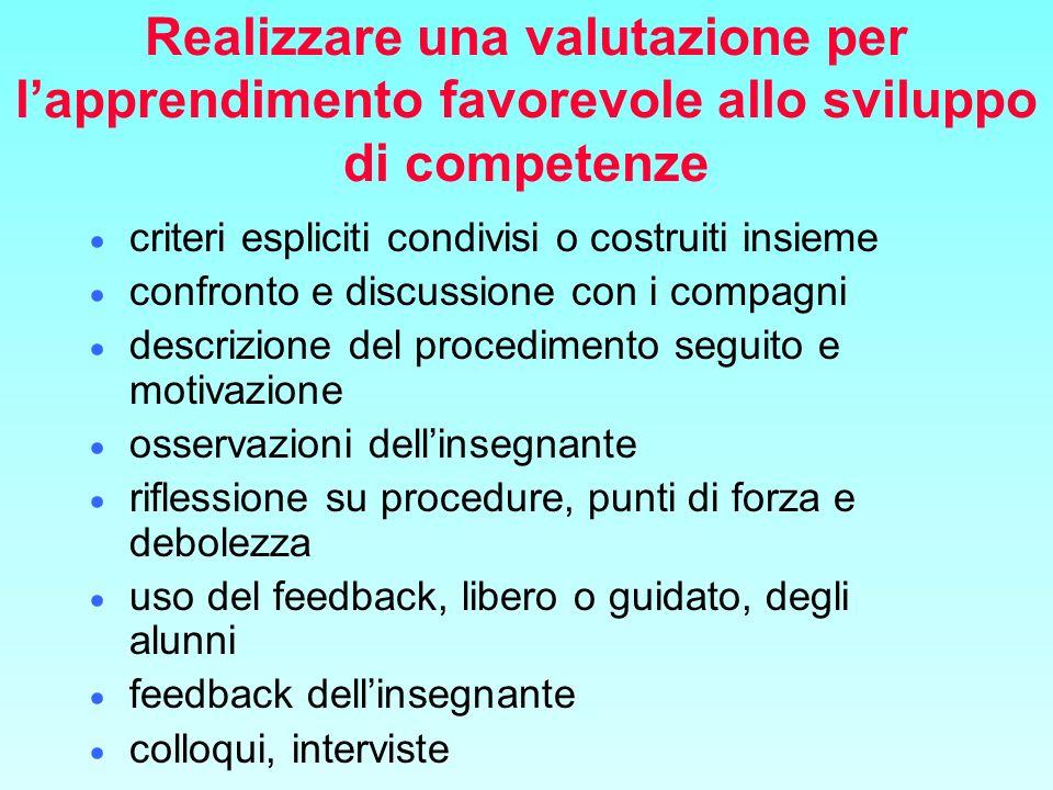 Realizzare una valutazione per l'apprendimento favorevole allo sviluppo di competenze