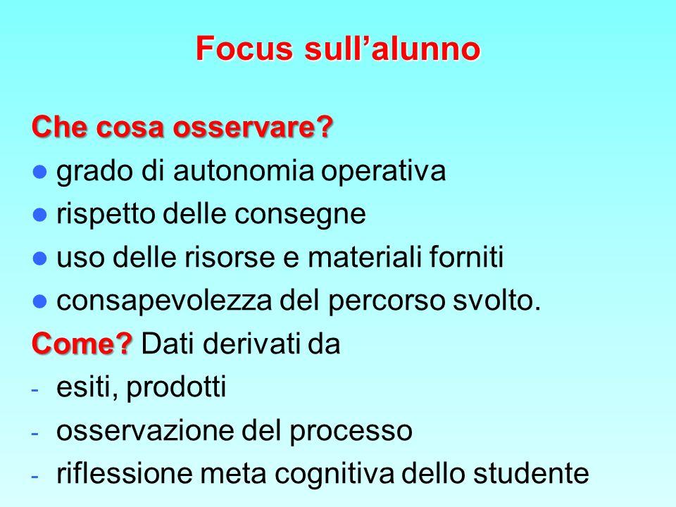 Focus sull'alunno Che cosa osservare grado di autonomia operativa