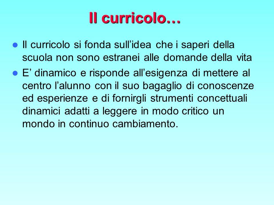 Il curricolo… Il curricolo si fonda sull'idea che i saperi della scuola non sono estranei alle domande della vita.