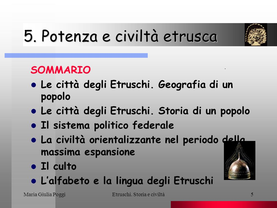 5. Potenza e civiltà etrusca
