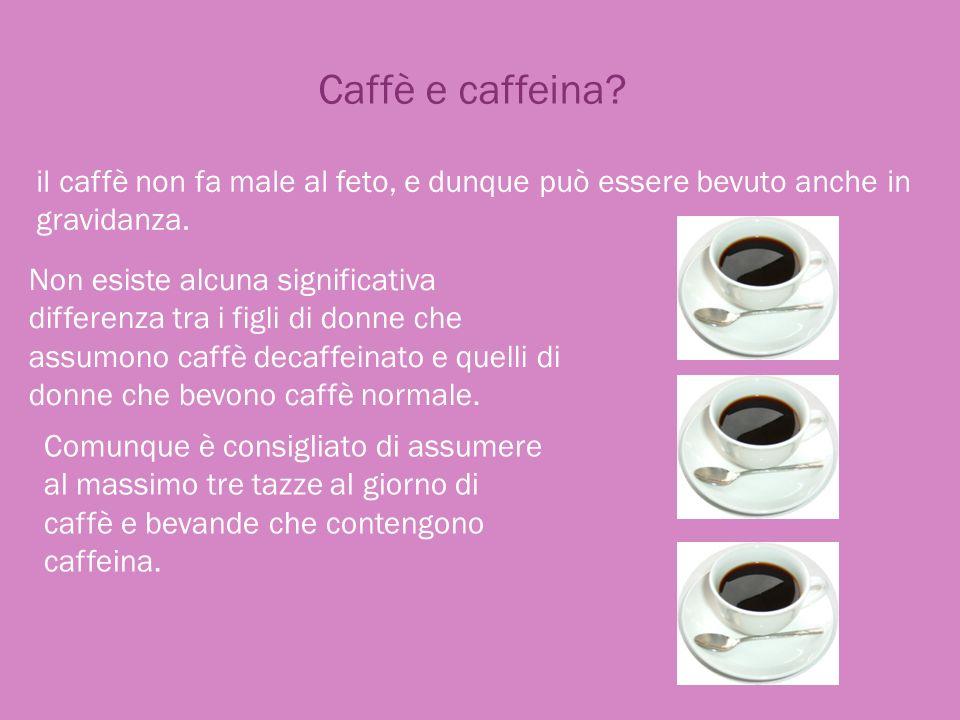 Caffè e caffeina il caffè non fa male al feto, e dunque può essere bevuto anche in gravidanza.