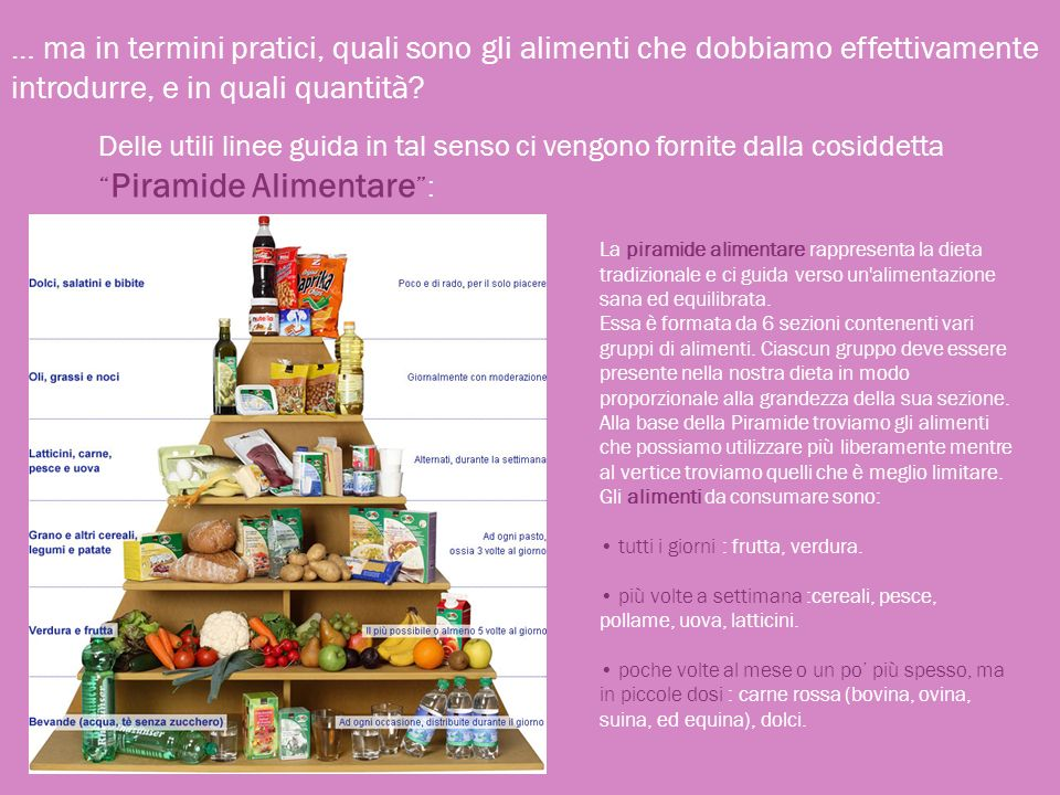 … ma in termini pratici, quali sono gli alimenti che dobbiamo effettivamente introdurre, e in quali quantità