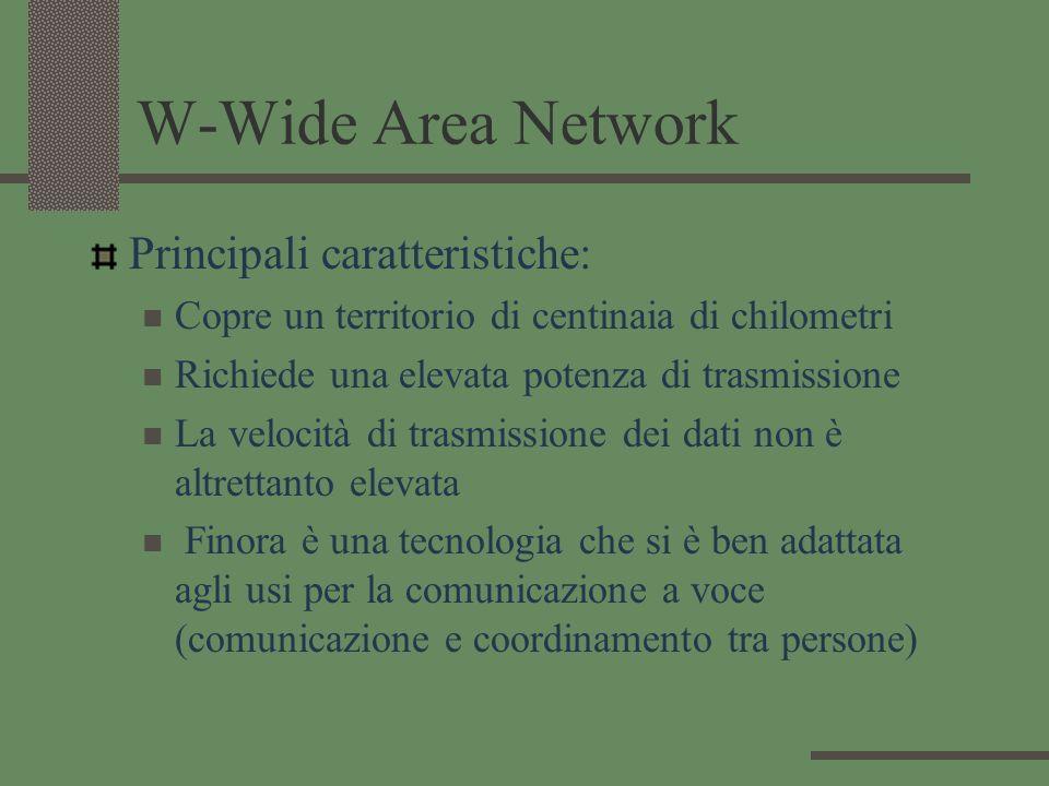 W-Wide Area Network Principali caratteristiche: