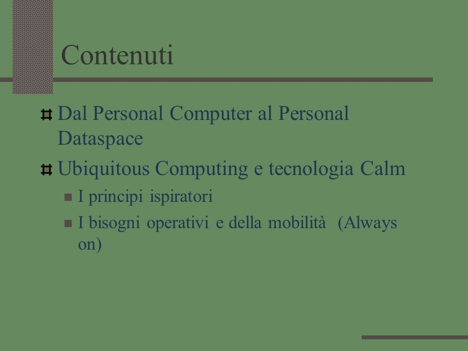 Contenuti Dal Personal Computer al Personal Dataspace