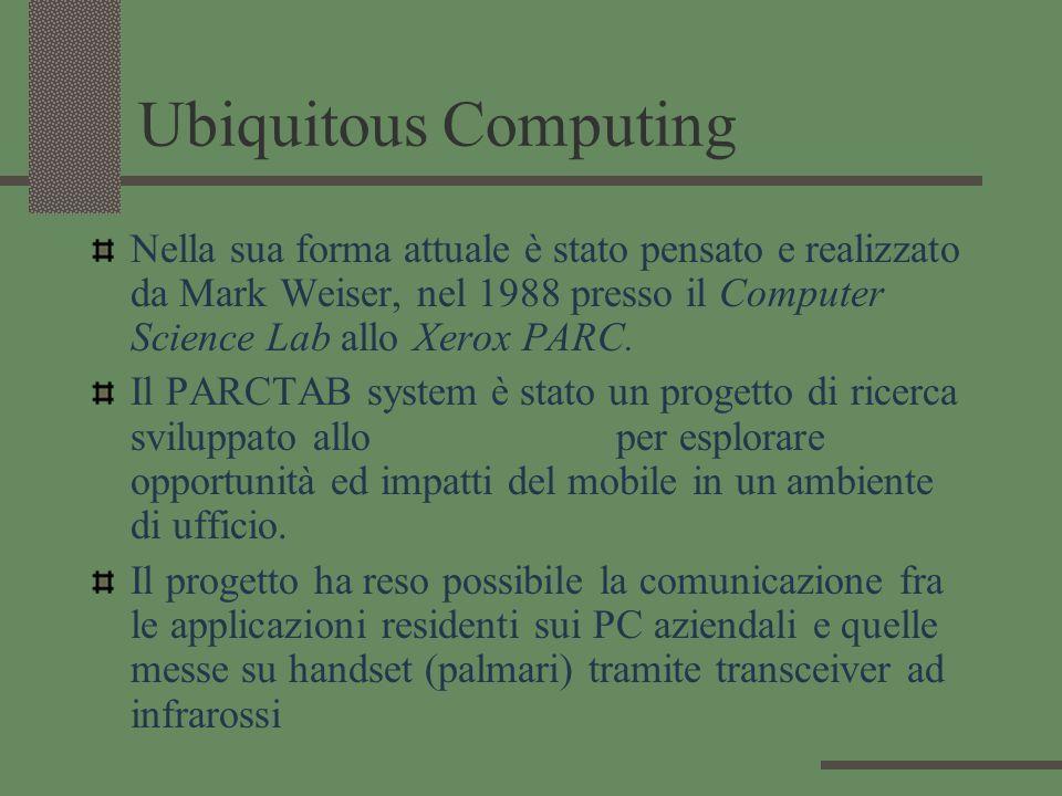 Ubiquitous Computing Nella sua forma attuale è stato pensato e realizzato da Mark Weiser, nel 1988 presso il Computer Science Lab allo Xerox PARC.