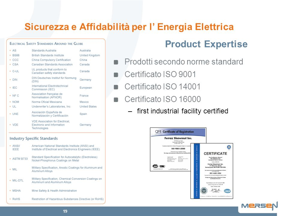 Sicurezza e Affidabilità per l' Energia Elettrica