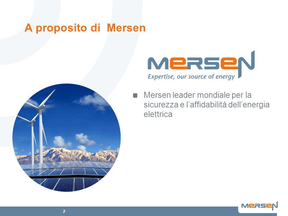 A proposito di Mersen Mersen leader mondiale per la sicurezza e l'affidabilità dell'energia elettrica.