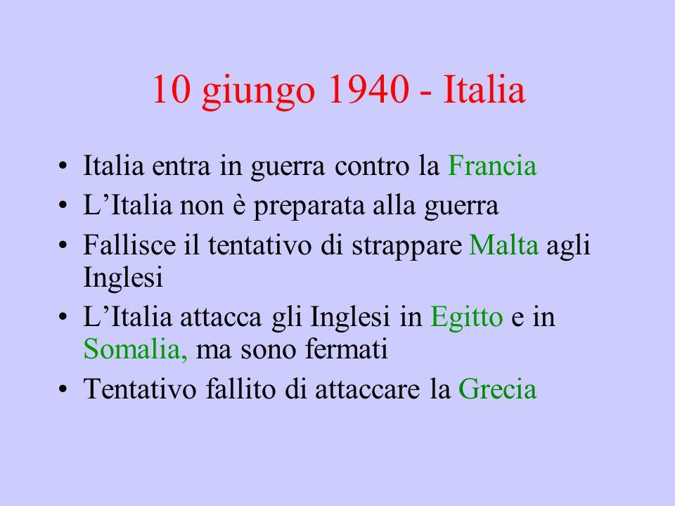 10 giungo 1940 - Italia Italia entra in guerra contro la Francia