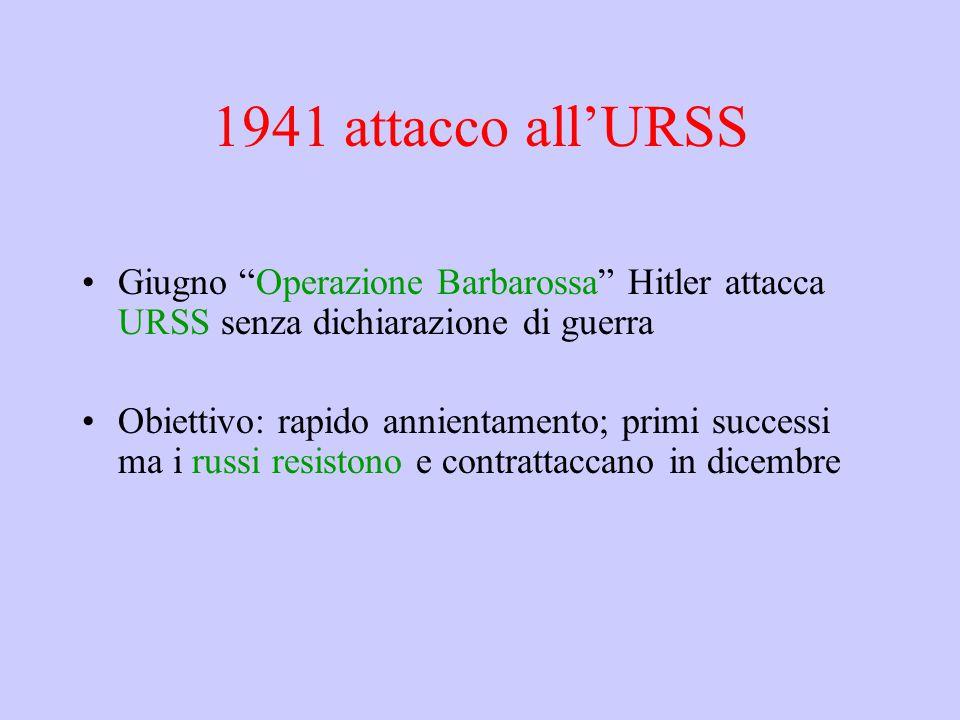 1941 attacco all'URSS Giugno Operazione Barbarossa Hitler attacca URSS senza dichiarazione di guerra.