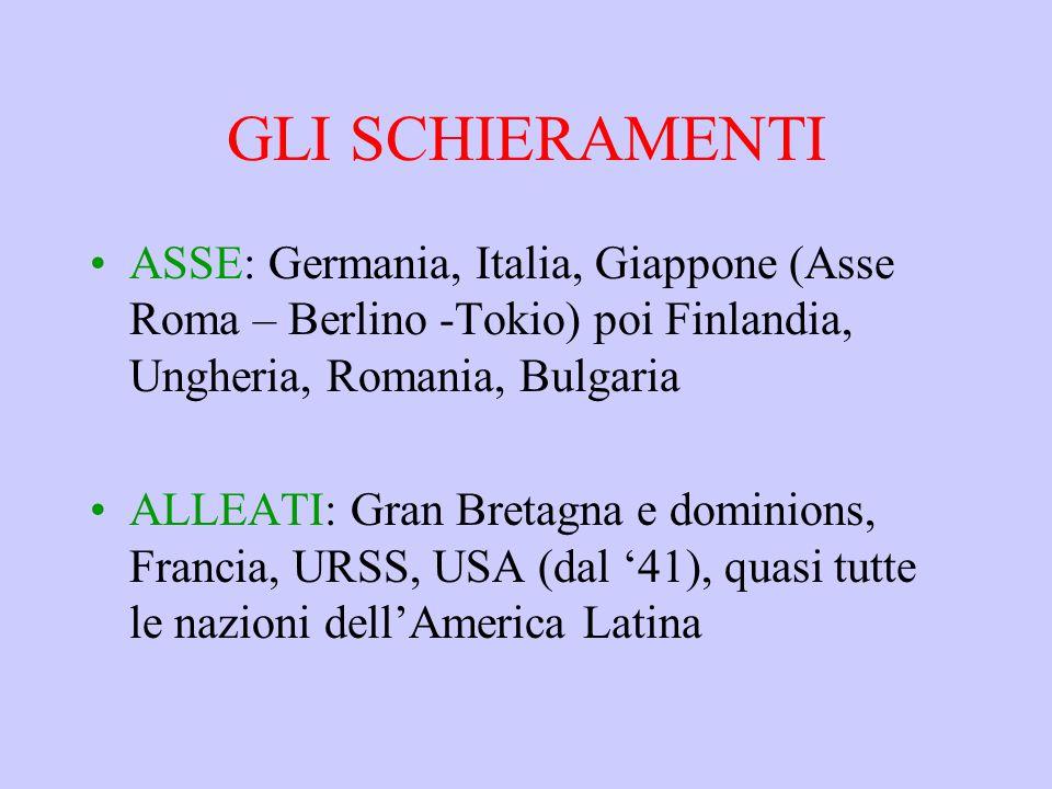 GLI SCHIERAMENTI ASSE: Germania, Italia, Giappone (Asse Roma – Berlino -Tokio) poi Finlandia, Ungheria, Romania, Bulgaria.