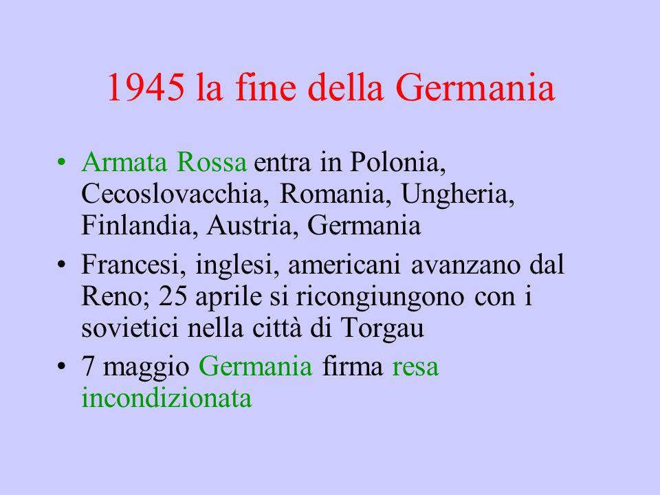 1945 la fine della Germania Armata Rossa entra in Polonia, Cecoslovacchia, Romania, Ungheria, Finlandia, Austria, Germania.