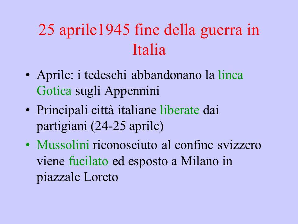 25 aprile1945 fine della guerra in Italia