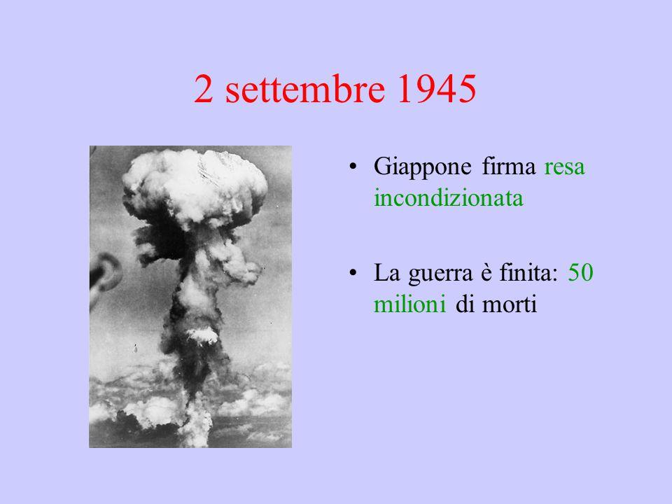 2 settembre 1945 Giappone firma resa incondizionata