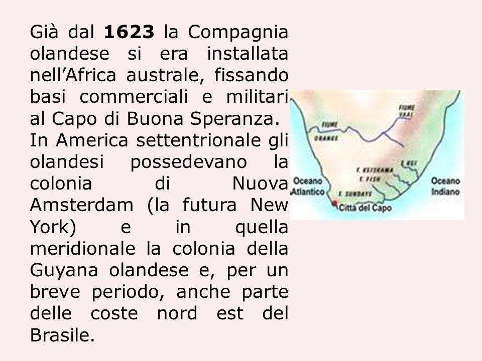 Già dal 1623 la Compagnia olandese si era installata nell'Africa australe, fissando basi commerciali e militari al Capo di Buona Speranza.