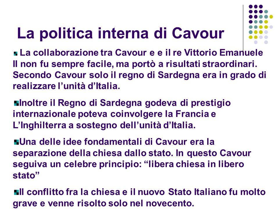 La politica interna di Cavour