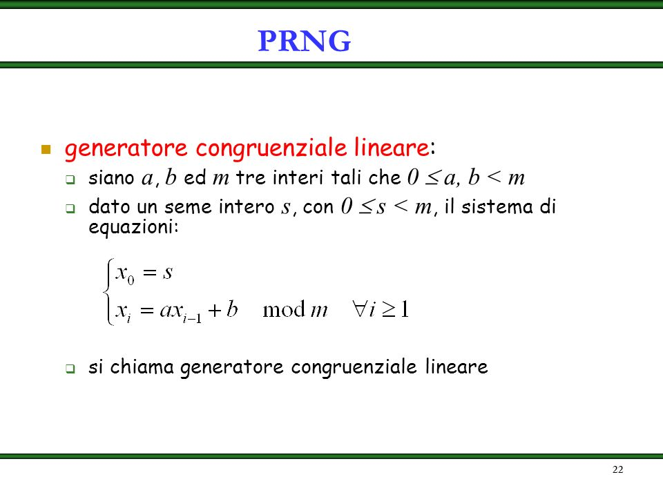 PRNG generatore congruenziale lineare: