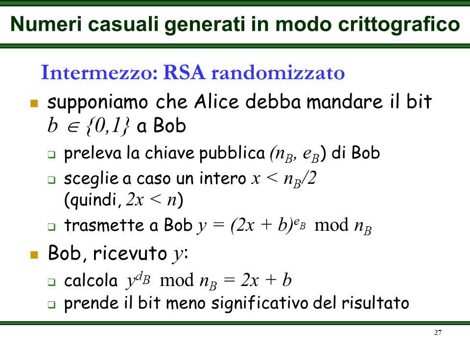 Intermezzo: RSA randomizzato