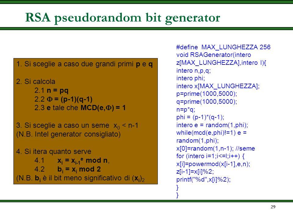 RSA pseudorandom bit generator