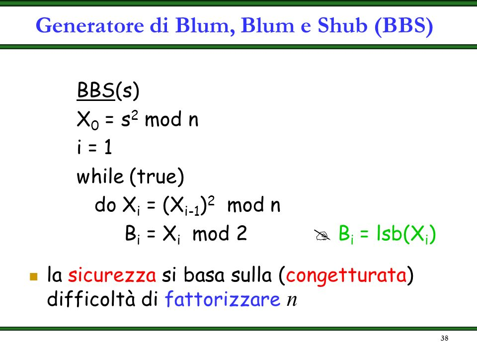 Generatore di Blum, Blum e Shub (BBS)