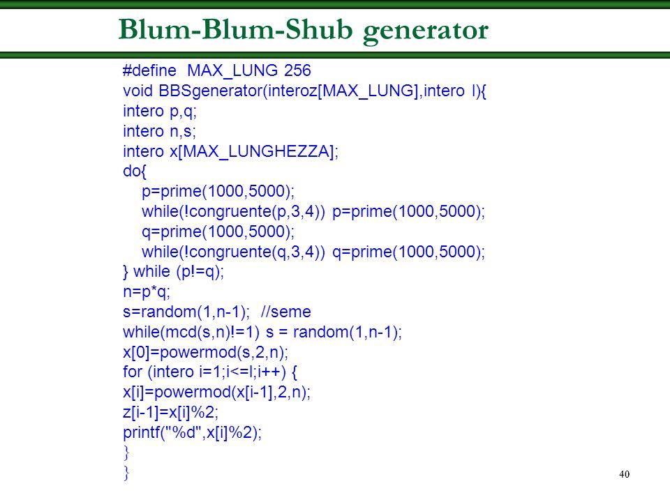 Blum-Blum-Shub generator