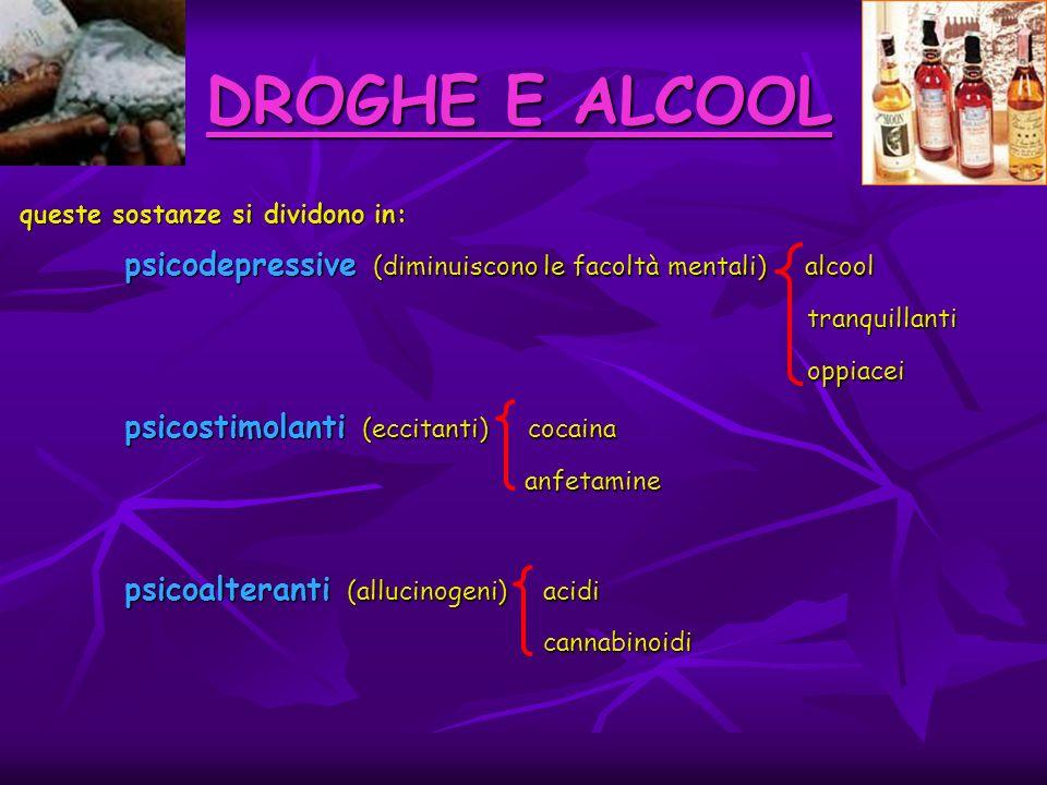 DROGHE E ALCOOL psicostimolanti (eccitanti) cocaina