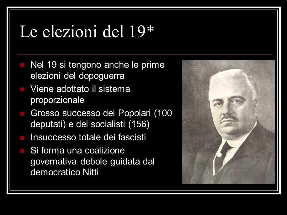 Le elezioni del 19* Nel 19 si tengono anche le prime elezioni del dopoguerra. Viene adottato il sistema proporzionale.