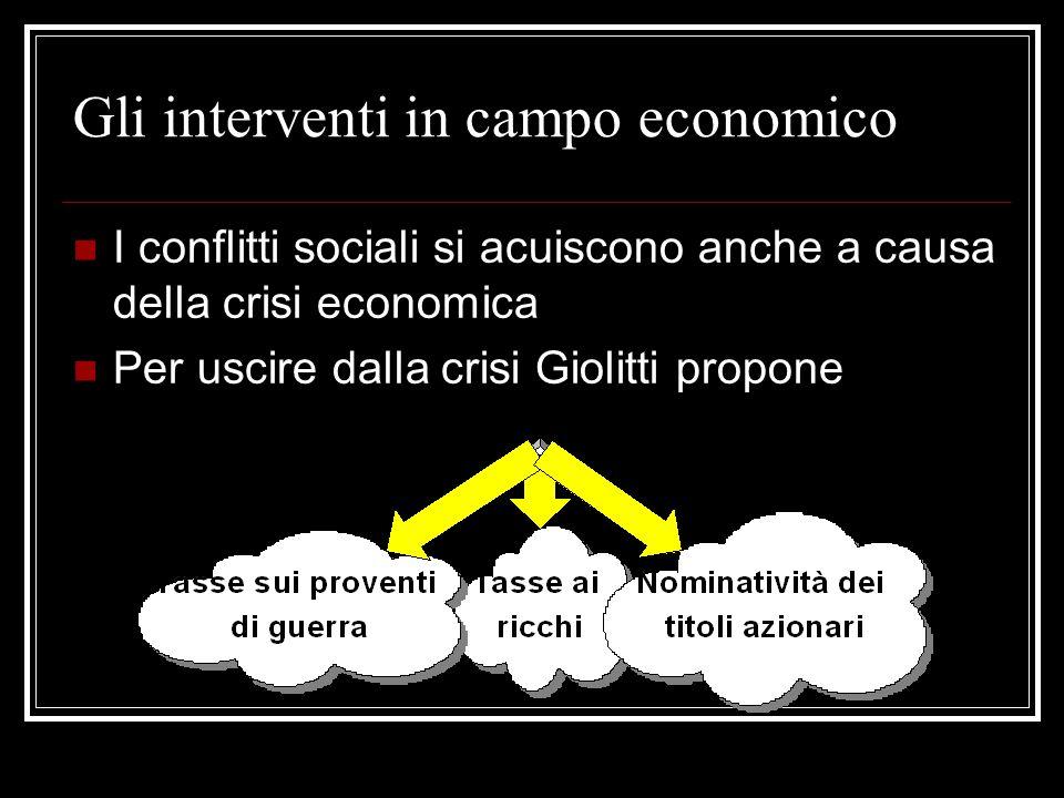 Gli interventi in campo economico
