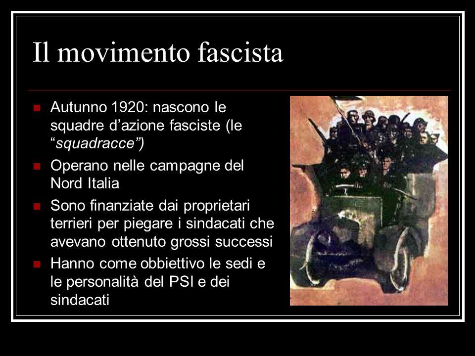 Il movimento fascistaAutunno 1920: nascono le squadre d'azione fasciste (le squadracce ) Operano nelle campagne del Nord Italia.