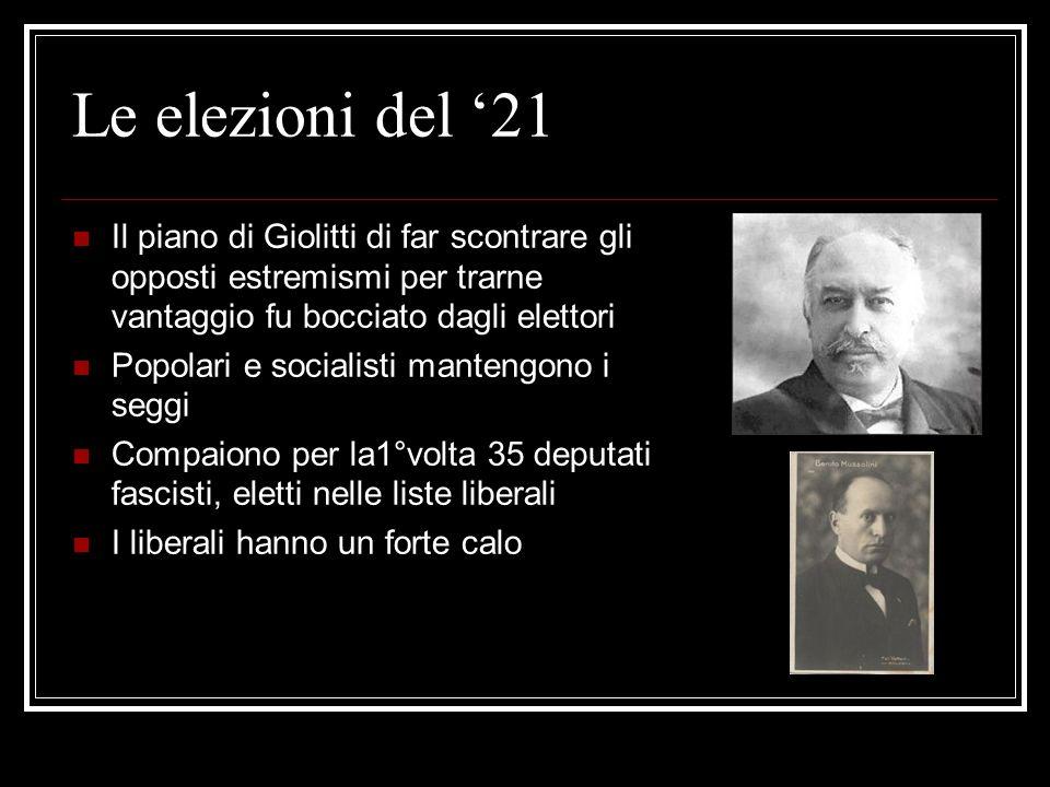 Le elezioni del '21Il piano di Giolitti di far scontrare gli opposti estremismi per trarne vantaggio fu bocciato dagli elettori.