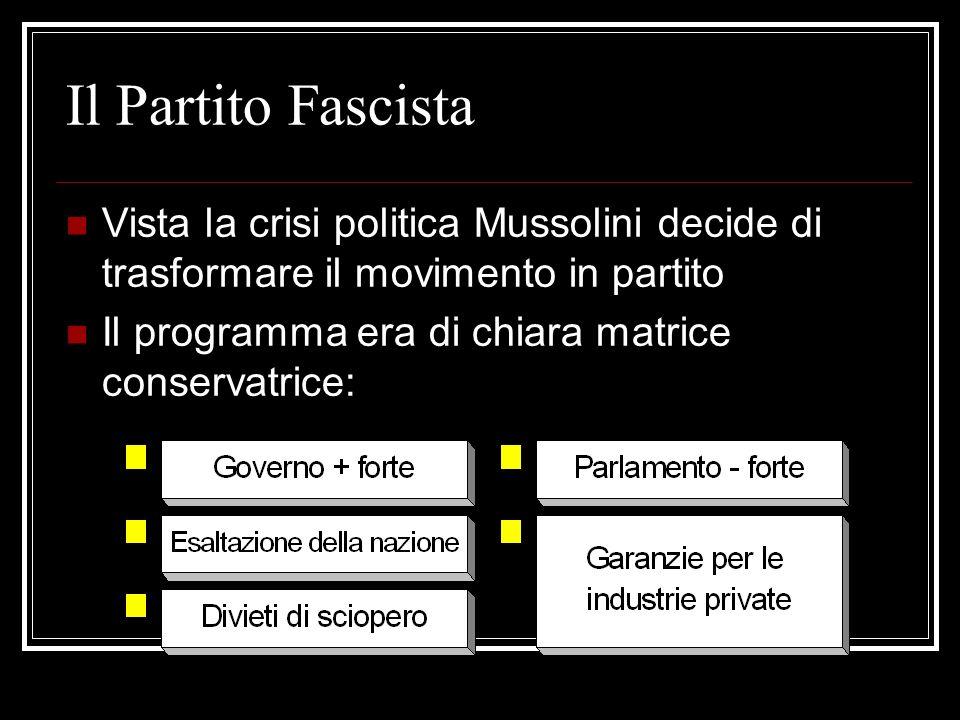Il Partito FascistaVista la crisi politica Mussolini decide di trasformare il movimento in partito.