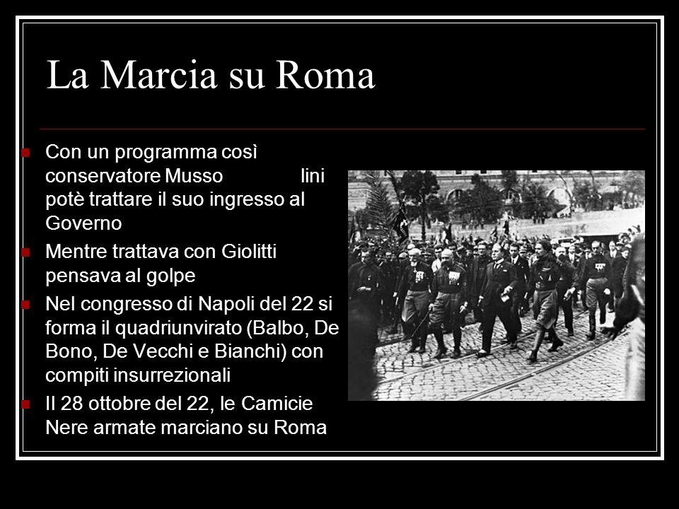 La Marcia su Roma Con un programma così conservatore Musso lini potè trattare il suo ingresso al Governo.