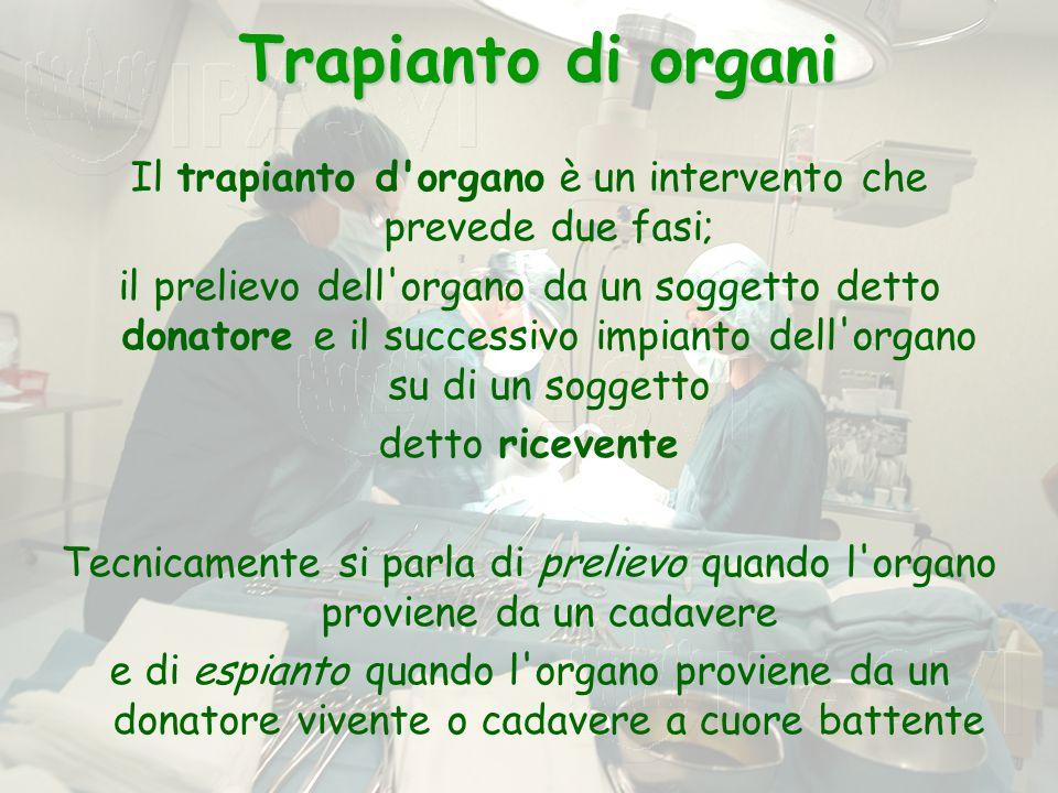 Il trapianto d organo è un intervento che prevede due fasi;
