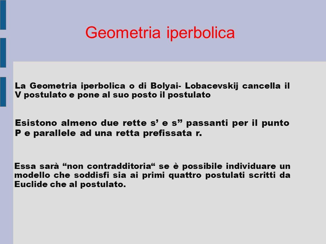 Geometria iperbolica La Geometria iperbolica o di Bolyai- Lobacevskij cancella il V postulato e pone al suo posto il postulato.