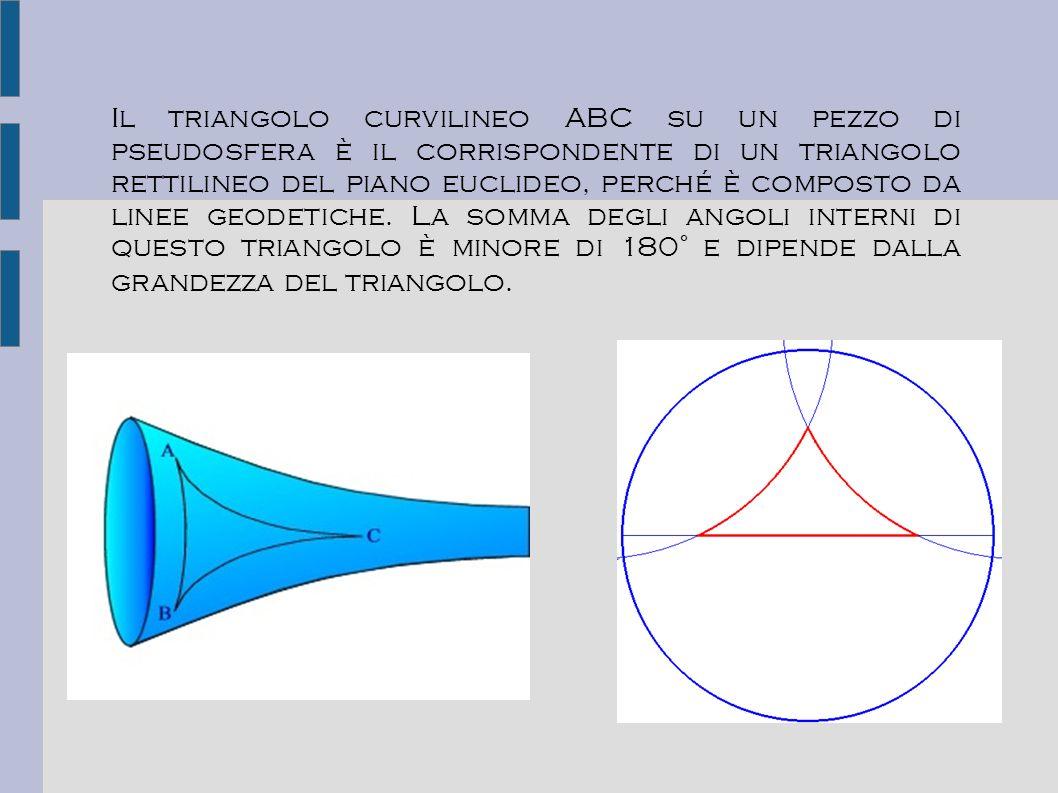 Il triangolo curvilineo ABC su un pezzo di pseudosfera è il corrispondente di un triangolo rettilineo del piano euclideo, perché è composto da linee geodetiche.
