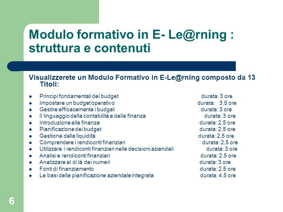 Modulo formativo in E- Le@rning : struttura e contenuti