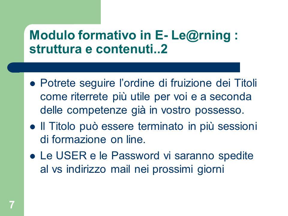 Modulo formativo in E- Le@rning : struttura e contenuti..2
