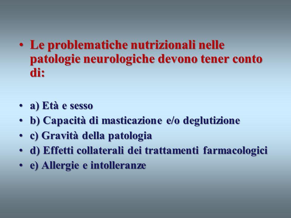Le problematiche nutrizionali nelle patologie neurologiche devono tener conto di:
