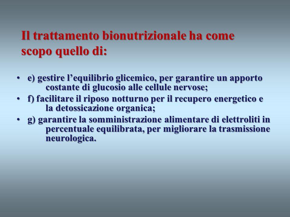 Il trattamento bionutrizionale ha come scopo quello di: