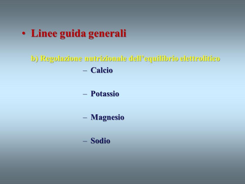 Linee guida generali b) Regolazione nutrizionale dell'equilibrio elettrolitico. Calcio. Potassio.