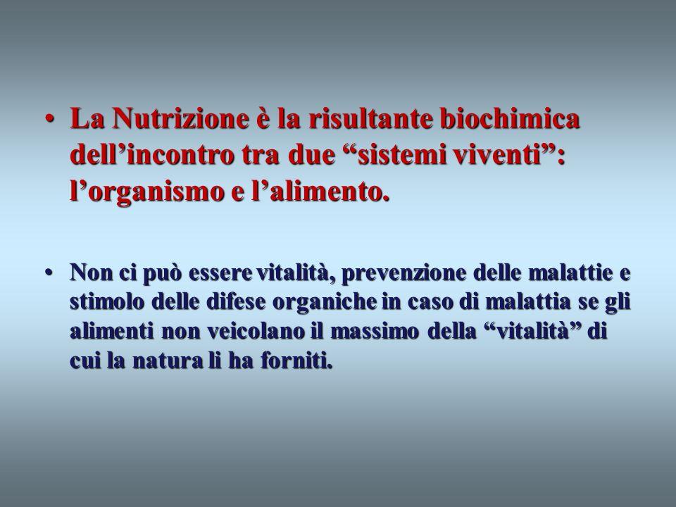La Nutrizione è la risultante biochimica dell'incontro tra due sistemi viventi : l'organismo e l'alimento.